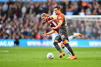 Birkir Bjarnason of Aston Villa vies for possession with Bersant Celina of Swansea City during the Sky Bet Championship match between Aston Villa and Swansea City at Villa Park in Birmingham, England, UK.  Saturday 20 October  2018