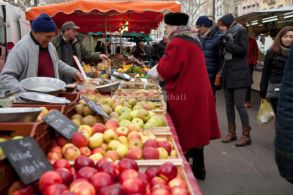 Fruit stall at Le Marche Saint Antoine, Lyon, France, 15 January 2012