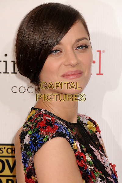 Marion Cotillard.18th Annual Critics' Choice Movie Awards - Arrivals held at Barker Hangar, Santa Monica, California, USA, .10th January 2013 .portrait headshot hair beauty side black lace flowers floral red white blue poppy short sleeved beaded yellow side .CAP/ADM/BP.©Byron Purvis/AdMedia/Capital Pictures.