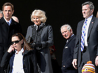 Washington, DC - March 18, 2015: His Royal Highness The Prince of Wales waits for The Duchess of Cornwall before they tour the Lincoln Memorial in the District of Columbia, March 18, 2015, as part of a four-day USA visit. Prince Charles has officially visited the United States 19 times since 1970. (Photo by Don Baxter/Media Images International)