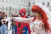 Zombie Spider-Man and Anna Maria. About 100 Science Fiction fans dressed up as their favourite characters and gathered in the courtyard of Somerset House to head off for the 4th Sci-Fi London Annual Costume Parade. The parade was organised by Sci-Fi London 14, the London International Festival of Science Fiction and Fantastic Film. The film festival runs until 4 May 2014.