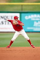 Clearwater Threshers shortstop Emmanuel Marrero (33) throws to first base during a game against the Palm Beach Cardinals on April 15, 2017 at Spectrum Field in Clearwater, Florida.  Clearwater defeated Palm Beach 2-1.  (Mike Janes/Four Seam Images)