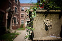 the entrance of a red Brick apartment building  in Hyde Park where Senator Barack Obama, the 2008 democratic presidential candidate and his family lived before buying their home in Kenwood..the image was taken on Tuesday August 5 2008 in Chicago, Illinois, United States.
