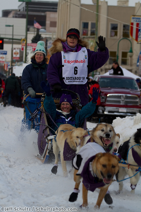 2010 Iditarod Ceremonial Start in Anchorage Alaska musher # 6 JESSIE ROYER with Iditarider CAROLYN BARRETT