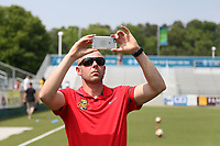 Cary, North Carolina  - Saturday April 29, 2017: Aaron Lines during a pregame ceremony honoring the Western New York Flash for winning the 2016 NWSL championship prior to regular season National Women's Soccer League (NWSL) match between the North Carolina Courage and the Orlando Pride at Sahlen's Stadium at WakeMed Soccer Park.