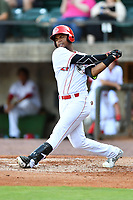 Greeneville Reds right fielder Reniel Ozuna (27) swings at a pitch during a game against the Bluefield Blue Jays at Pioneer Park on June 30, 2018 in Greeneville, Tennessee. The Blue Jays defeated the Red 7-3. (Tony Farlow/Four Seam Images)