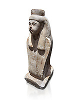 Ancient Egyptian statue of the goddess Meretseger, limestone, New Kingdom, 19-20th Dynasty, (1480-1390 BC), deir el Medina. Egyptian Museum, Turin. white background Cat 957.