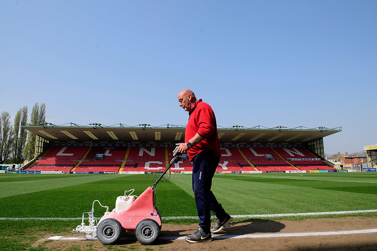A general view of Sincil Bank, home of Lincoln City FC<br /> <br /> Photographer Chris Vaughan/CameraSport<br /> <br /> The EFL Sky Bet League Two - Lincoln City v Tranmere Rovers - Monday 22nd April 2019 - Sincil Bank - Lincoln<br /> <br /> World Copyright © 2019 CameraSport. All rights reserved. 43 Linden Ave. Countesthorpe. Leicester. England. LE8 5PG - Tel: +44 (0) 116 277 4147 - admin@camerasport.com - www.camerasport.com