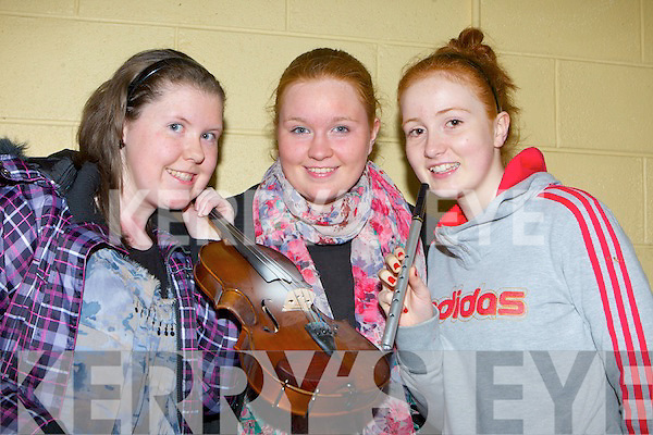 Currow musicians at the KDYS County variety finals in Currow Community Centre on Friday night l-r: Miriam Fitzgerald, Seorcha O'Connor and Erin O'Connor