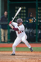 Mac Caples (24) of the Virginia Tech Hokies at bat against the Toledo Rockets at The Ripken Experience on February 28, 2015 in Myrtle Beach, South Carolina.  The Hokies defeated the Rockets 1-0 in 10 innings.  (Brian Westerholt/Four Seam Images)