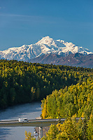South view of Denali and the Chulitna River, Alaska.