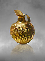 Bronze Age Hattian gold flask from Grave K, possibly a Bronze Age Royal grave (2500 BC to 2250 BC) - Alacahoyuk - Museum of Anatolian Civilisations, Ankara, Turkey