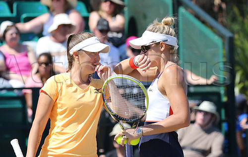 June 17th 2017, Nottingham, England;WTA Aegon Nottingham Open Tennis Tournament day 6;  Monique Adamczak, on the right, and Storm Sanders of Australia who won the doubles final discuss tactics