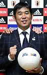 October 30, 2017, Tokyo, Japan - Former Sanfrecce Hiroshima head coach Hajime Moriyasu poses for photo as he was named to Japan's Olympic national football team head coach at the JFA headquarters in Tokyo on Monday, October 30, 2017.   (Photo by Yoshio Tsunoda/AFLO) LWX -ytd-