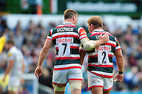 Brendon O'Connor and Tom Youngs of Leicester Tigers. Aviva Premiership match, between Leicester Tigers and Bath Rugby on September 25, 2016 at Welford Road in Leicester, England. Photo by: Patrick Khachfe / Onside Images