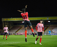 Lincoln City U18's Jordan Adebayo-Smith celebrates scoring his side's third goal<br /> <br /> Photographer Chris Vaughan/CameraSport<br /> <br /> The FA Youth Cup Second Round - Lincoln City U18 v South Shields U18 - Tuesday 13th November 2018 - Sincil Bank - Lincoln<br />  <br /> World Copyright © 2018 CameraSport. All rights reserved. 43 Linden Ave. Countesthorpe. Leicester. England. LE8 5PG - Tel: +44 (0) 116 277 4147 - admin@camerasport.com - www.camerasport.com