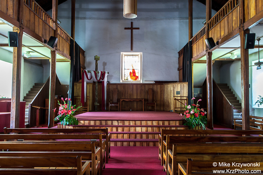 Inside of Mokuaikaua Church, Kailua-Kona, Big Island, Hawaii