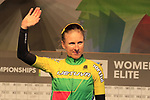 Rasa Leleivyte of Lithuania at sign on for the start of the Women Elite Road Race of the UCI World Championships 2019 running 149.4km from Bradford to Harrogate, England. 28th September 2019.<br /> Picture: Eoin Clarke | Cyclefile<br /> <br /> All photos usage must carry mandatory copyright credit (© Cyclefile | Eoin Clarke)