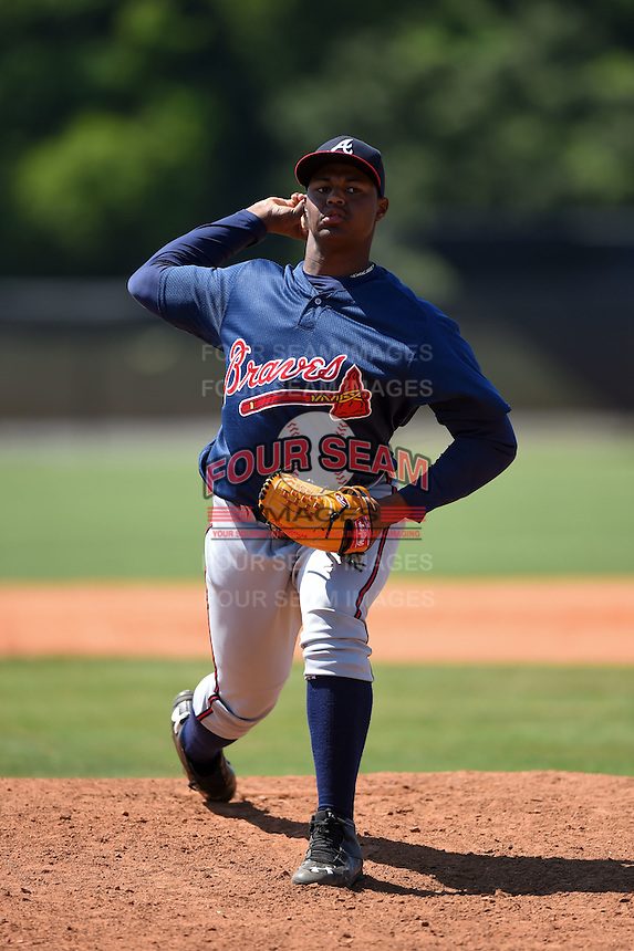 Atlanta Braves pitcher Mauricio Cabrera (95) during a minor league spring training game against the Houston Astros on March 29, 2015 at the Osceola County Stadium Complex in Kissimmee, Florida.  (Mike Janes/Four Seam Images)