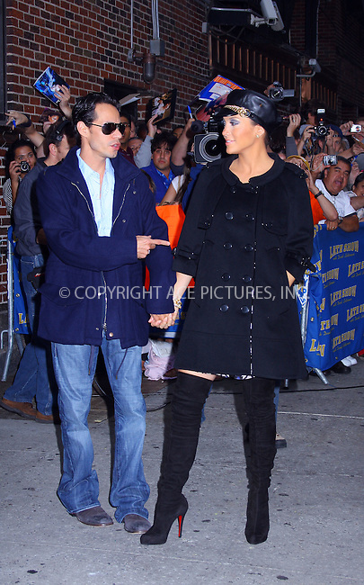 WWW.ACEPIXS.COM . . . . .....October 9, 2007. New York City.....Actress Jennifer Lopez and her husband singer Marc Anthony arrive at the 'Late Show with David Letterman' at the Ed Sullivan Theater...  ....Please byline: AJ SOKALNER- ACEPIXS.COM..... *** ***..Ace Pictures, Inc:  ..Philip Vaughan (646) 769 0430..e-mail: info@acepixs.com..web: http://www.acepixs.com