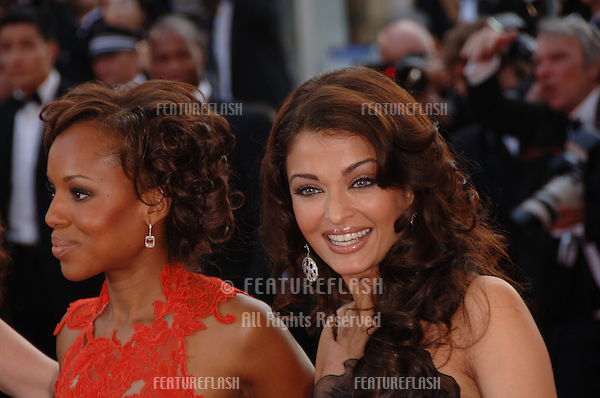 "Actresses KERRY WASHINGTON (left) & AISHWARYA RAI at the gala screening of ""The Da Vinci Code"" at the 59th Annual International Film Festival de Cannes..May 17, 2006  Cannes, France..© 2006 Paul Smith / Featureflash"