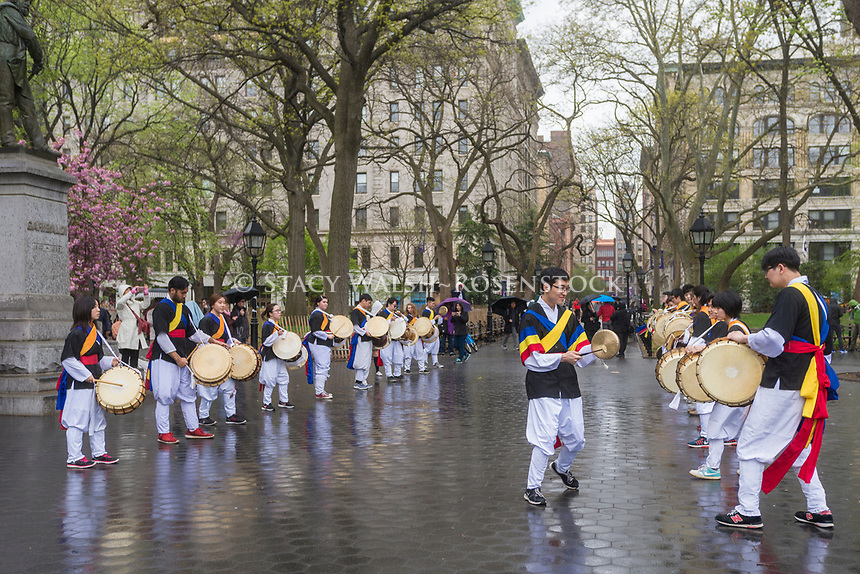New York, NY 22 April 2017 - Korean NYU Students drum procession in Washington Square Park on Earth Day. © Stacy Walsh Rosenstock