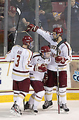 Patch Alber (BC - 3), Barry Almeida (BC - 9), Isaac MacLeod (BC - 7) - The visiting Merrimack College Warriors tied the Boston College Eagles at 2 on Sunday, January 8, 2011, at Kelley Rink/Conte Forum in Chestnut Hill, Massachusetts.
