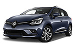 Stock pictures of low aggressive front three quarter view of 2017 Renault Clio Intnse 5 Door Wagon Low Aggressive