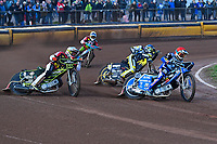 Heat 2 Mateusz Szczepaniak of Poole Pirates red leads  during Poole Pirates vs Belle Vue Aces, Elite League Speedway at The Stadium on 11th April 2018