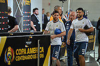 East Rutherford, NJ - Sunday June 26, 2016: Argentina arriving, Lionel Messi prior to a Copa America Centenario finals match between Argentina (ARG) and Chile (CHI) at MetLife Stadium.