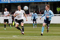 Jon Nolan of Grimsby Town (right) during the Vanarama National League match between Dover Athletic and Grimsby Town at the Crabble Athletic Ground, Dover, England on 16 April 2016. Photo by Tony Fowles/PRiME Media Images.