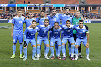 Houston, TX - Friday December 9, 2016: North Carolina Tar Heels starting XI at the NCAA Men's Soccer Semifinals at BBVA Compass Stadium in Houston Texas.