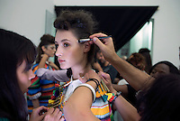 MILAN, ITALY - SEPTEMBER 23: Models wait backstage before a show with the Italian Haitian designer Stella Jean at Milan Fashion Week Spring/Summer Milan 2016, in Milan, Italy.  (Photo by: Per-Anders Pettersson)