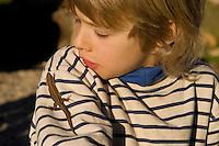 Kind, Junge mit Waldeidechse, Wald-Eidechse, Wald - Eidechse, Lacerta vivipara, Zootoca vivipara, Bergeidechse, Mooreidechse, viviparous lizard, European common lizard