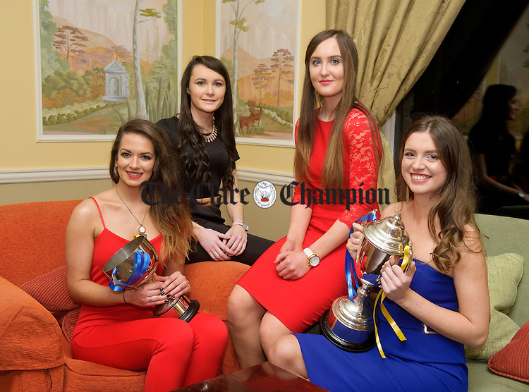 Joanne Walsh, Amy O Halloran, Michelle Mc Mahon and Roisin White at the Newmarket on Fergus GAA and Camogie social in the Inn At Dromoland. Photograph by John Kelly.