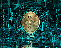 Gold bitcoin at the centre of complex digital technology cyberspace