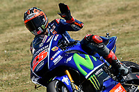 SCARPERIA,FLORENCE, ITALY - JUNE 02:,2017 Maverick Vinales of Spain and Movistar Yamaha MotoGP greets the fans in action Free Practice MotoGP Gran Premio d'Italia- at Mugello Circuit. on june 02, 2017 in Scarperia Italy.<br /> Photo Marco Iorio/Insidefoto