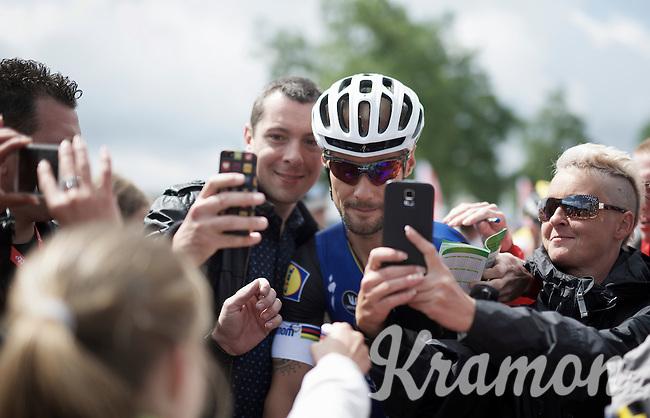 Tom Boonen (BEL/Etixx-QuickStep) remains crazy popular with the fans: selfie-storm at the sign-in<br /> <br /> Belgian National Road Cycling Championships 2016<br /> Les Lacs de l'Eau d'Heure
