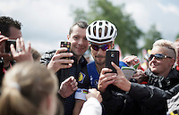 Tom Boonen (BEL/Etixx-QuickStep) remains crazy popular with the fans: selfie-storm at the sign-in<br /> <br /> Belgian National Road Cycling Championships 2016<br /> Les Lacs de l'Eau d'Heure
