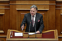 Pictured: Work Minister Giorgos Katrougalos Sunday 08 May 2016<br /> Re: Greek Parliament votes on pension and welfare reforms, Athens, Greece