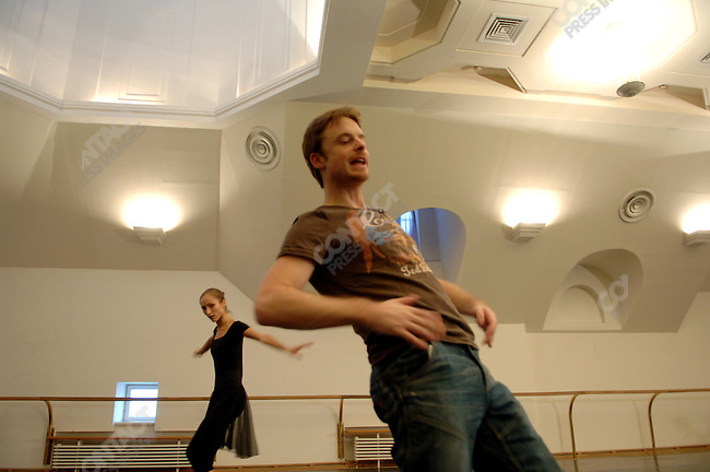 """Soloist Ekaterina Shipulina rehearsed her part in the new ballet """"Misericors' to be premiered with the Bolshoi with its British choreographer Christopher Wheeldon in a rehearsal room in the Bolshoi Theatre, Moscow, Russia, January 25, 2007"""