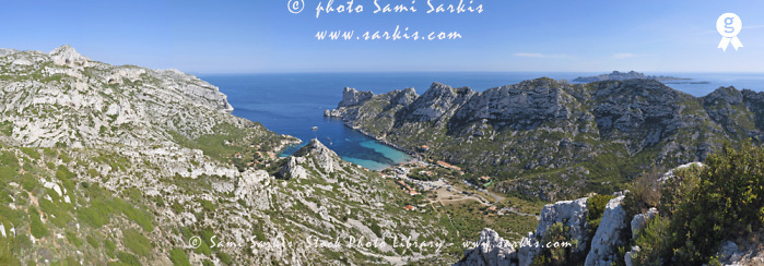 Calanques de Sormiou creek, panoramic view (Licence this image exclusively with Getty: http://www.gettyimages.com/detail/92907742 )
