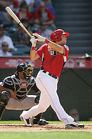 Eric Hosmer of the Kansas City Royals organization participates in the Futures Game at Angel Stadium in Anaheim,California on July 11, 2010. Photo by Larry Goren/Four Seam Images