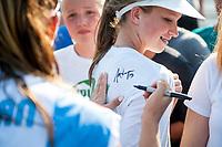 Kansas City, MO - Wednesday August 16, 2017: fan, fans, Alex Morgan during a regular season National Women's Soccer League (NWSL) match between FC Kansas City and the Orlando Pride at Children's Mercy Victory Field.