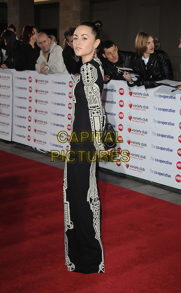 JAIME WINSTONE.The Co-operative Variety Club Showbiz Awards, Grosvenor House Hotel, Park Lane, London, England, UK, 14th November 2010. .full length black dress long maxi sleeve grey gray cream print patterned side  .CAP/WIZ.© Wizard/Capital Pictures.