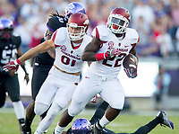NWA Democrat-Gazette/JASON IVESTER<br /> Arkansas sophomore running back Rawleigh Williams carries the ball on Saturday, Sept. 10, 2016, against TCU at Amon G. Carter Stadium in Fort Worth, Texas.