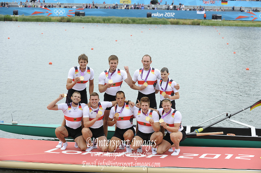 Eton Dorney, Windsor, Great Britain,..2012 London Olympic Regatta, Dorney Lake. Eton Rowing Centre, Berkshire[ Rowing]...Description;   GER M8+ Awards Dock.      Dorney Lake..13:20:24  Wednesday  01/08/2012..[Mandatory Credit: Peter Spurrier/Intersport Images].