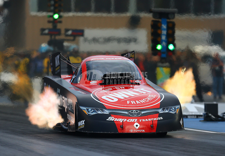 Jul 24, 2015; Morrison, CO, USA; NHRA funny car driver Cruz Pedregon during qualifying for the Mile High Nationals at Bandimere Speedway. Mandatory Credit: Mark J. Rebilas-USA TODAY Sports
