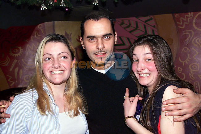 Corina and Bernie Kirk with Beppe from Eastenders in Earth nightclub..Picture Paul Mohan Newsfile