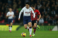 Son Heung-Min of Tottenham Hotspur and Cedric Soares of Southampton during Tottenham Hotspur vs Southampton, Premier League Football at Wembley Stadium on 5th December 2018